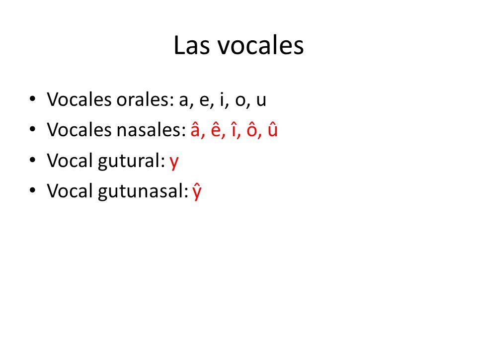 Las vocales Vocales orales: a, e, i, o, u Vocales nasales: â, ê, î, ô, û Vocal gutural: y Vocal gutunasal: ŷ