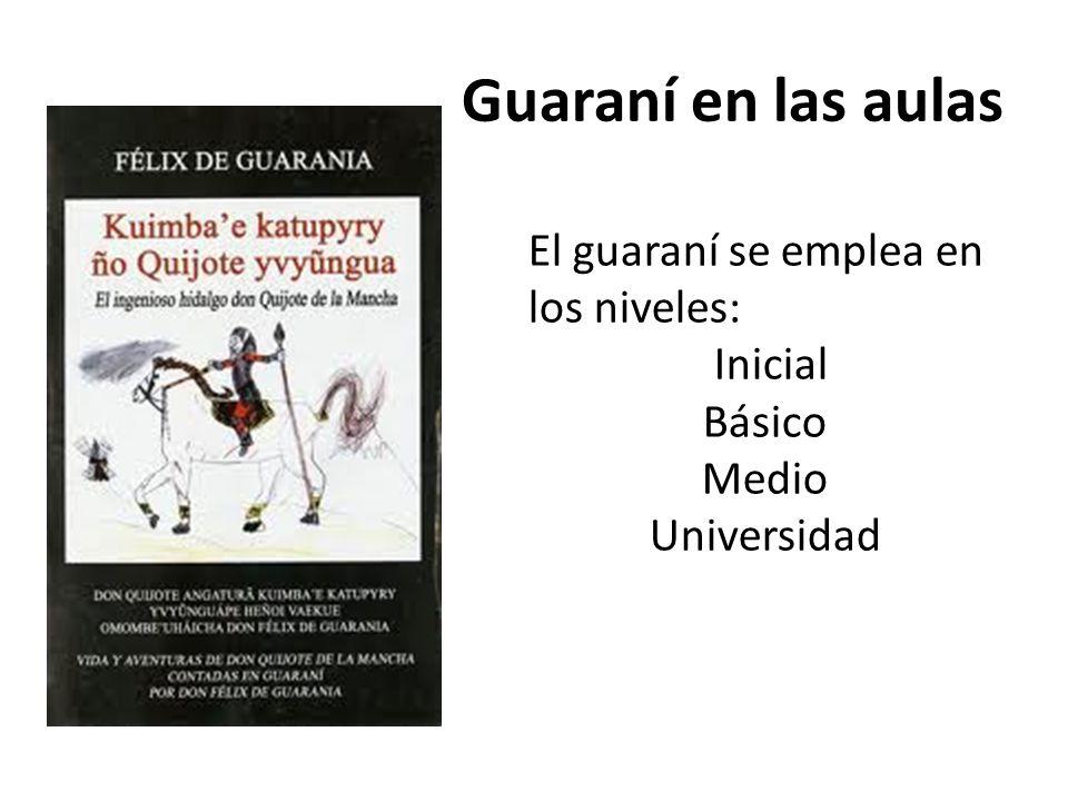 Guaraní en las aulas El guaraní se emplea en los niveles: Inicial Básico Medio Universidad