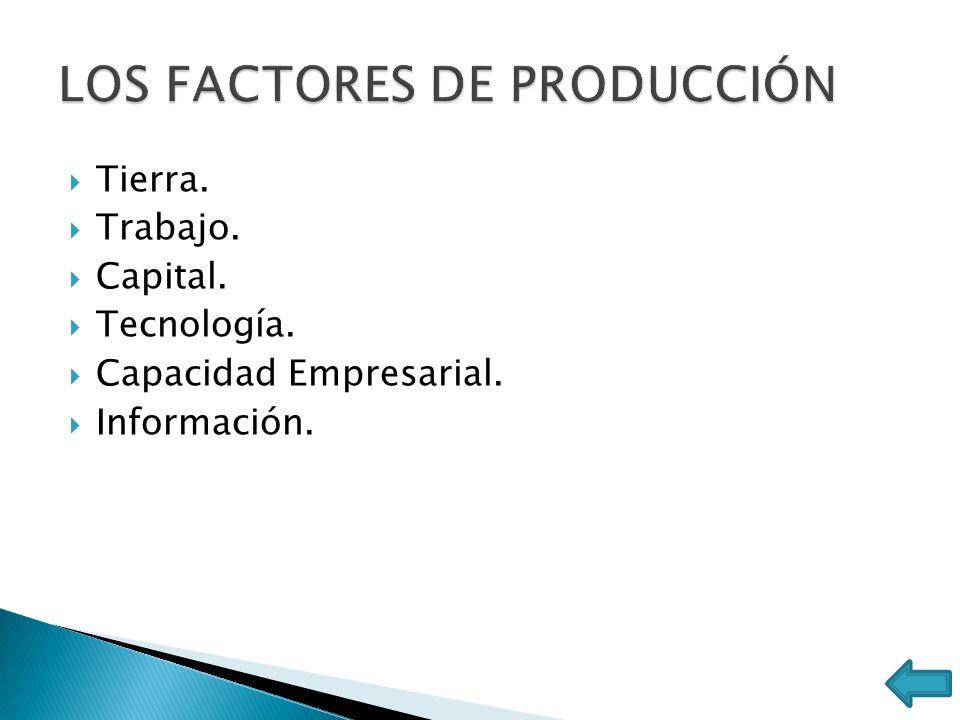 Tierra. Trabajo. Capital. Tecnología. Capacidad Empresarial. Información.