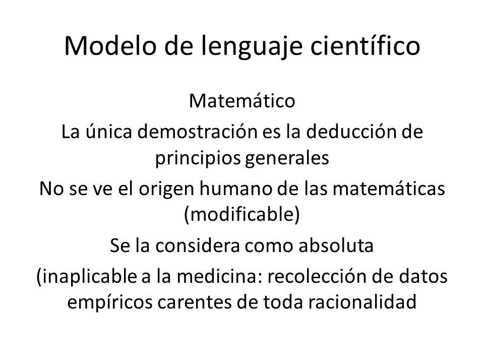 Modelo de lenguaje científico Matemático La única demostración es la deducción de principios generales No se ve el origen humano de las matemáticas (modificable) Se la considera como absoluta (inaplicable a la medicina: recolección de datos empíricos carentes de toda racionalidad