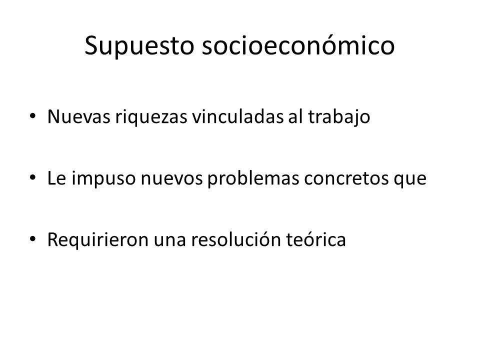 Supuesto socioeconómico Nuevas riquezas vinculadas al trabajo Le impuso nuevos problemas concretos que Requirieron una resolución teórica