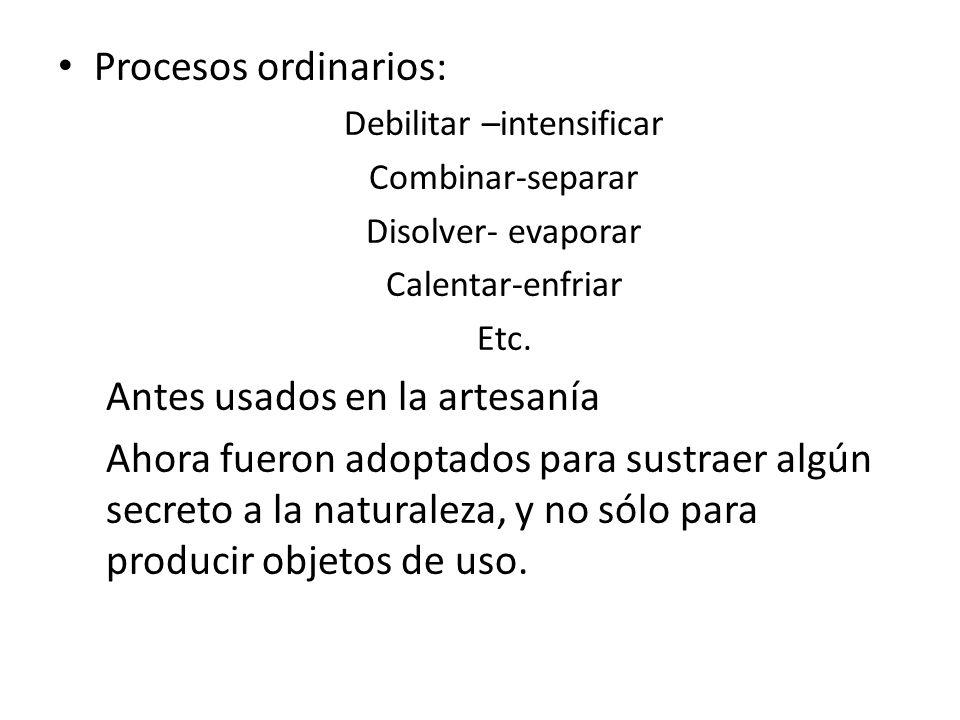 Procesos ordinarios: Debilitar –intensificar Combinar-separar Disolver- evaporar Calentar-enfriar Etc.