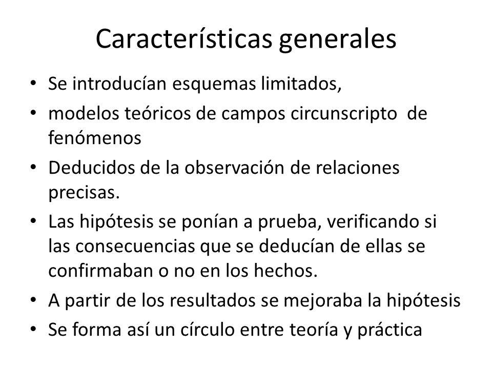 Características generales Se introducían esquemas limitados, modelos teóricos de campos circunscripto de fenómenos Deducidos de la observación de relaciones precisas.