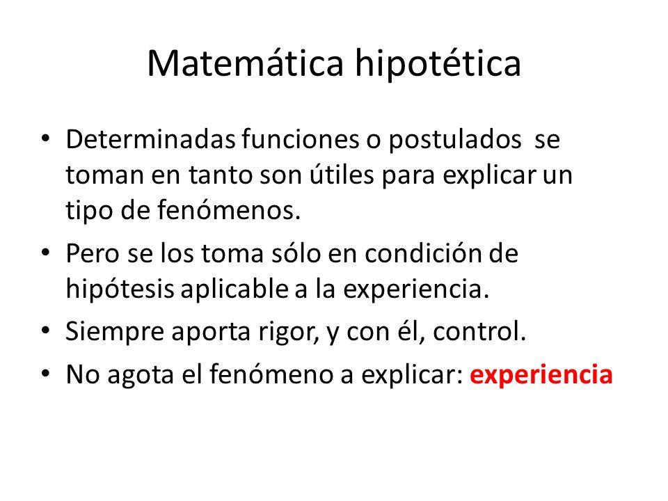 Matemática hipotética Determinadas funciones o postulados se toman en tanto son útiles para explicar un tipo de fenómenos.