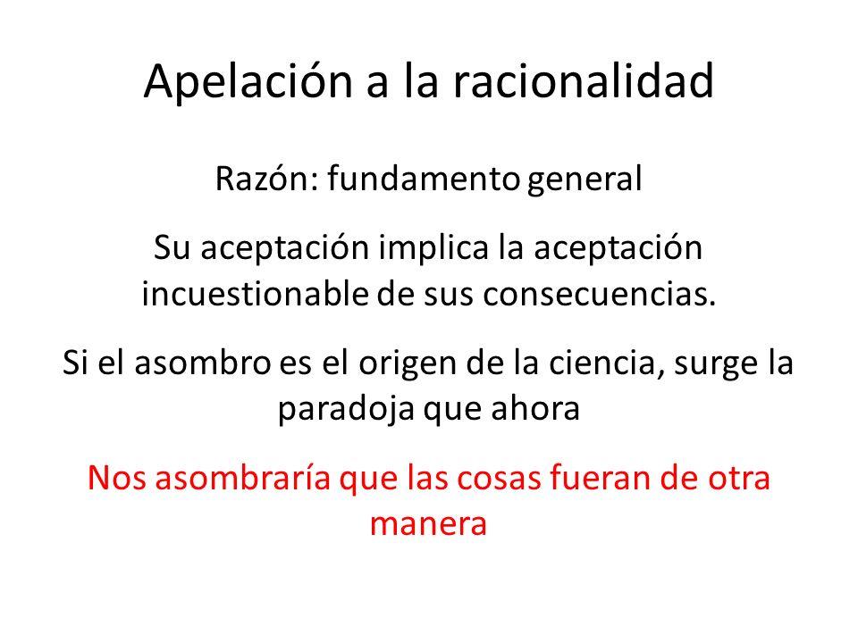 Apelación a la racionalidad Razón: fundamento general Su aceptación implica la aceptación incuestionable de sus consecuencias.