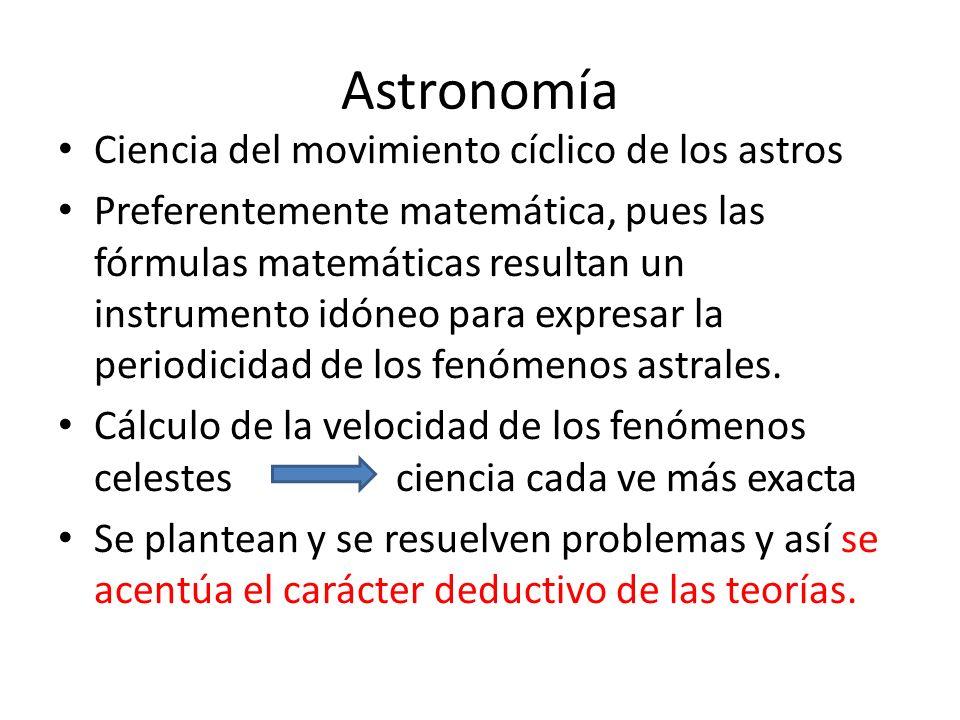 Astronomía Ciencia del movimiento cíclico de los astros Preferentemente matemática, pues las fórmulas matemáticas resultan un instrumento idóneo para expresar la periodicidad de los fenómenos astrales.