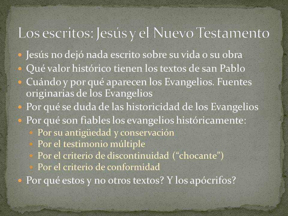 Jesús no dejó nada escrito sobre su vida o su obra Qué valor histórico tienen los textos de san Pablo Cuándo y por qué aparecen los Evangelios. Fuente