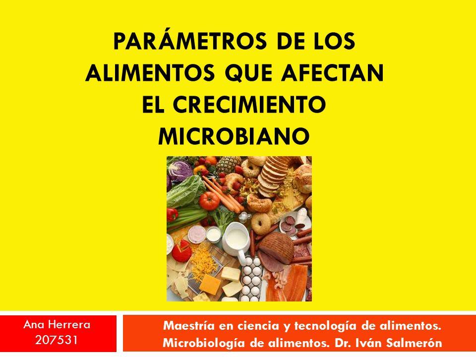 PARÁMETROS DE LOS ALIMENTOS QUE AFECTAN EL CRECIMIENTO MICROBIANO Maestría en ciencia y tecnología de alimentos. Microbiología de alimentos. Dr. Iván