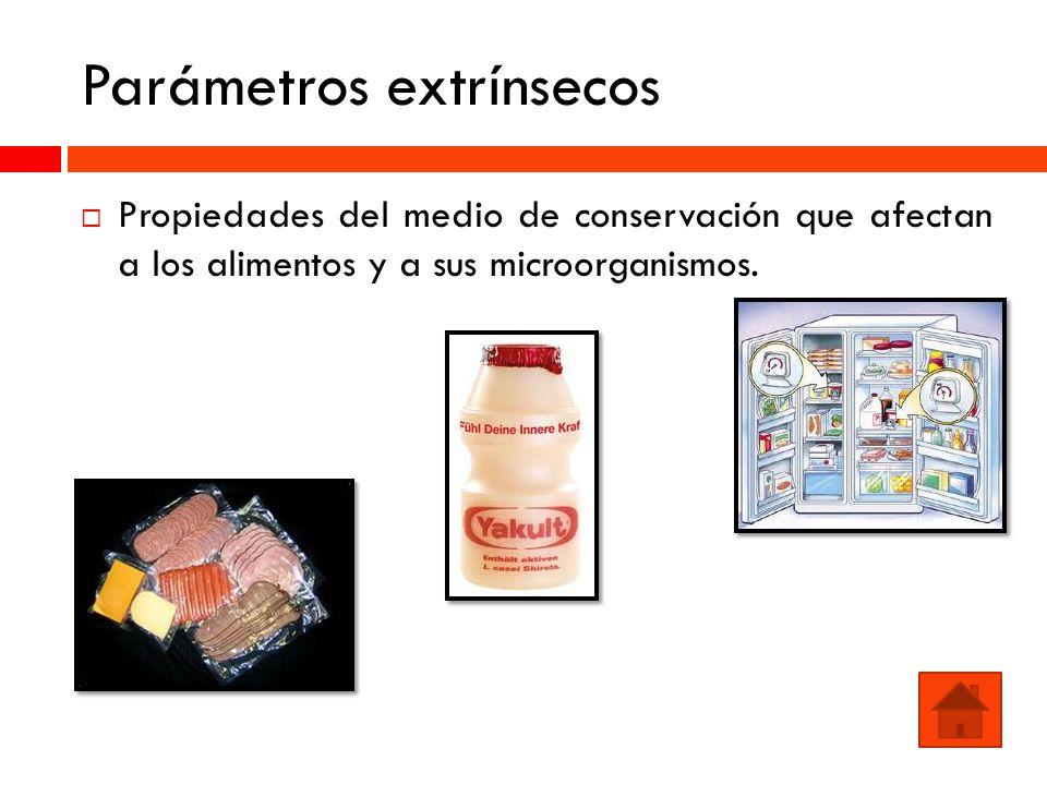 Parámetros extrínsecos Propiedades del medio de conservación que afectan a los alimentos y a sus microorganismos.