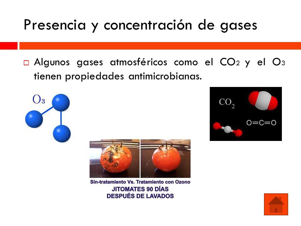 Presencia y concentración de gases Algunos gases atmosféricos como el CO 2 y el O 3 tienen propiedades antimicrobianas.