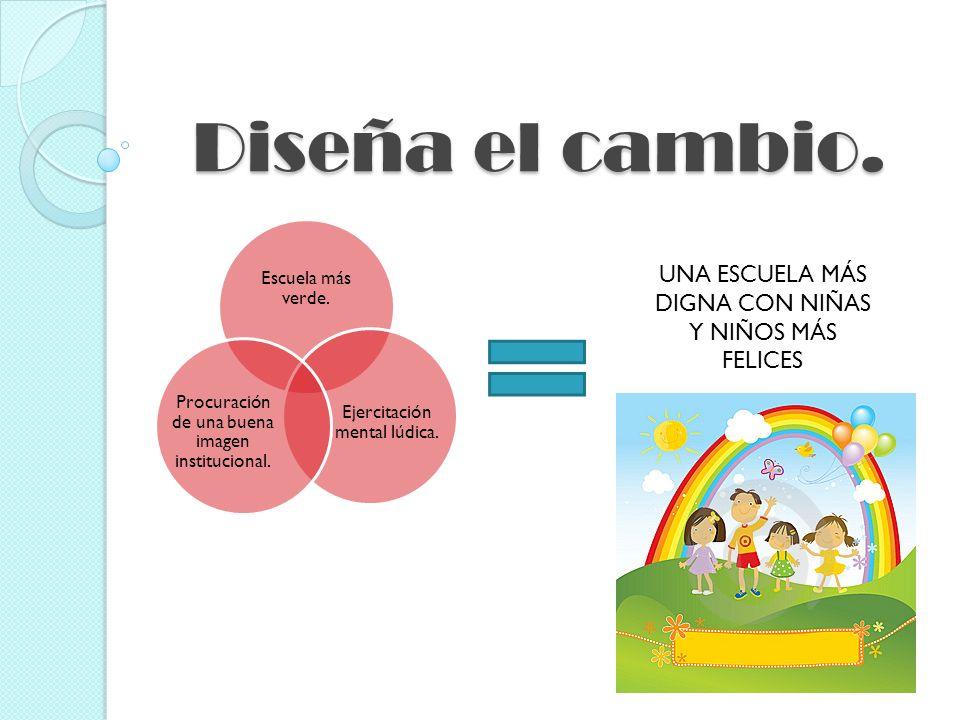Diseña el cambio. Escuela más verde. Ejercitación mental lúdica. Procuración de una buena imagen institucional. UNA ESCUELA MÁS DIGNA CON NIÑAS Y NIÑO
