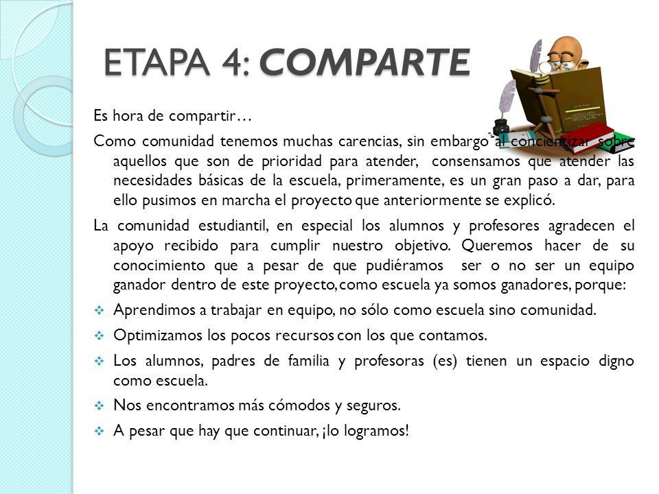 ETAPA 4: COMPARTE Es hora de compartir… Como comunidad tenemos muchas carencias, sin embargo al concientizar sobre aquellos que son de prioridad para