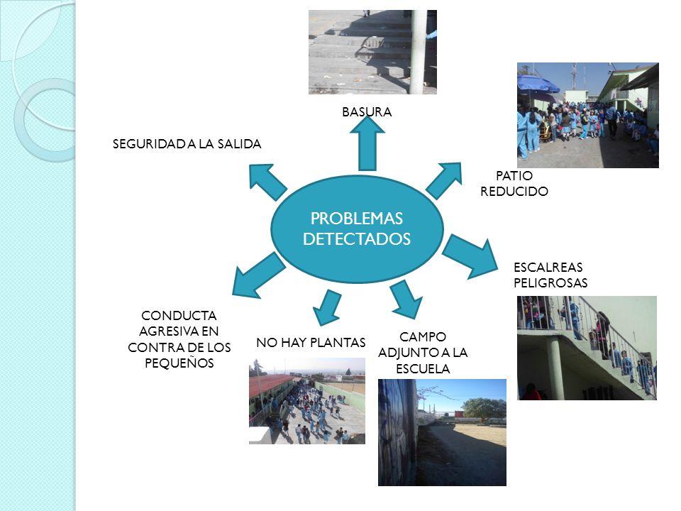 PROBLEMAS DETECTADOS BASURA PATIO REDUCIDO ESCALREAS PELIGROSAS CAMPO ADJUNTO A LA ESCUELA NO HAY PLANTAS CONDUCTA AGRESIVA EN CONTRA DE LOS PEQUEÑOS