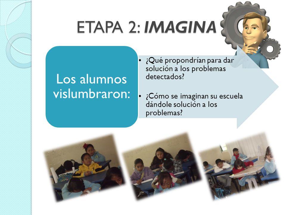 ETAPA 2: IMAGINA ¿Qué propondrían para dar solución a los problemas detectados? ¿Cómo se imaginan su escuela dándole solución a los problemas? Los alu