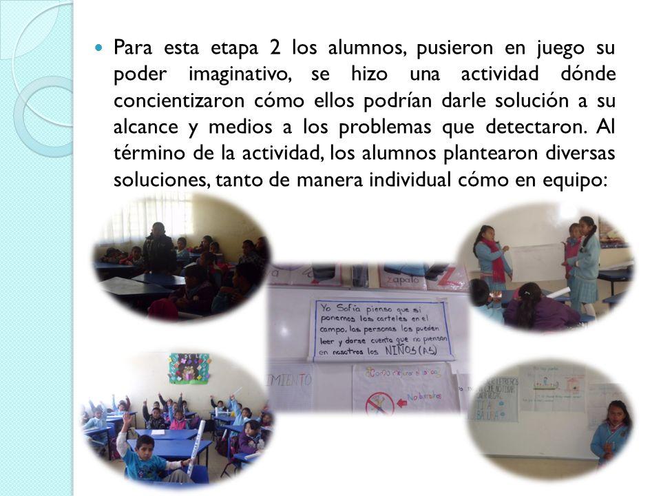 Para esta etapa 2 los alumnos, pusieron en juego su poder imaginativo, se hizo una actividad dónde concientizaron cómo ellos podrían darle solución a