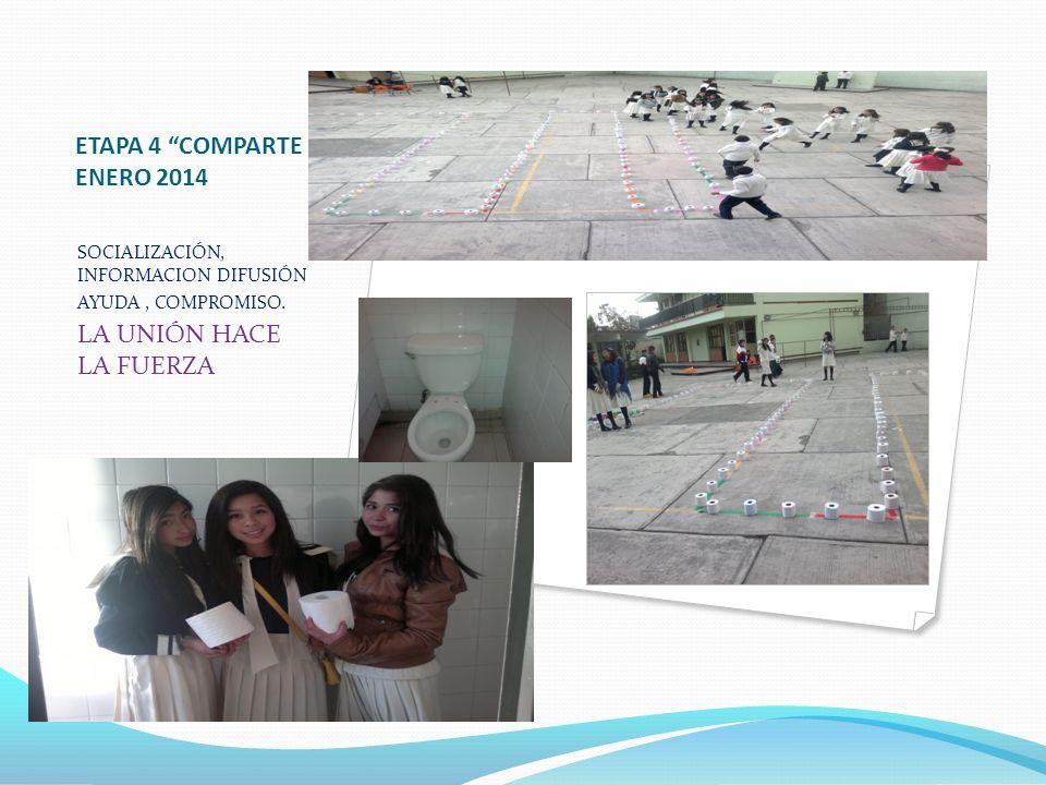 ETAPA 4 COMPARTE ENERO 2014 SOCIALIZACIÓN, INFORMACION DIFUSIÓN AYUDA, COMPROMISO. LA UNIÓN HACE LA FUERZA