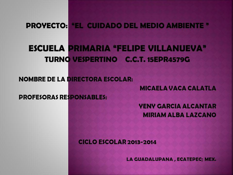 PROYECTO: EL CUIDADO DEL MEDIO AMBIENTE ESCUELA PRIMARIA FELIPE VILLANUEVA TURNO VESPERTINO C.C.T. 15EPR4579G NOMBRE DE LA DIRECTORA ESCOLAR: MICAELA