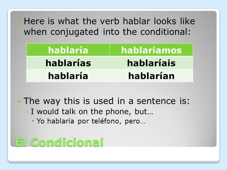 El Condicional The irregular forms are the same as the future tense 1.