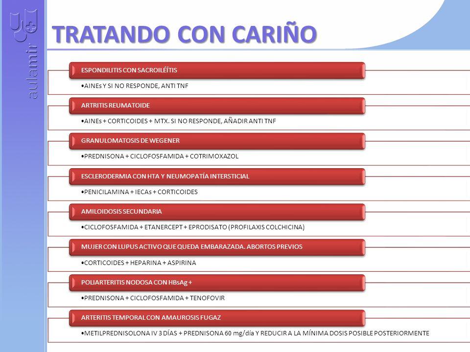 TRATANDO CON CARIÑO AINEs Y SI NO RESPONDE, ANTI TNF ESPONDILITIS CON SACROILÉÍTIS AINEs + CORTICOIDES + MTX. SI NO RESPONDE, AÑADIR ANTI TNF ARTRITIS
