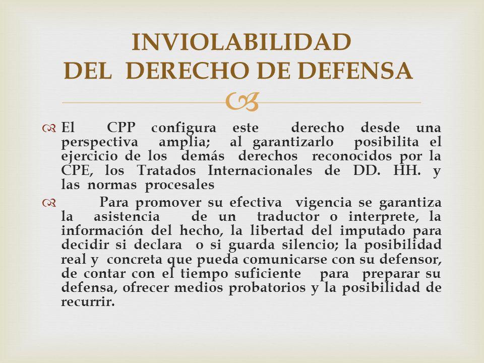 El CPP configura este derecho desde una perspectiva amplia; al garantizarlo posibilita el ejercicio de los demás derechos reconocidos por la CPE, los Tratados Internacionales de DD.