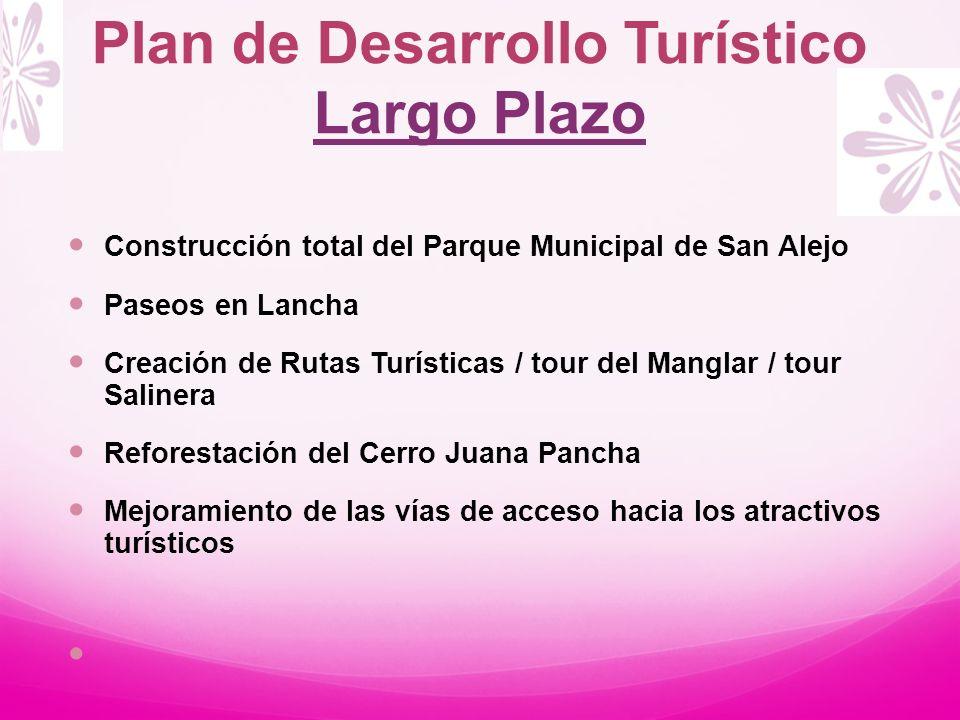 Construcción total del Parque Municipal de San Alejo Paseos en Lancha Creación de Rutas Turísticas / tour del Manglar / tour Salinera Reforestación de