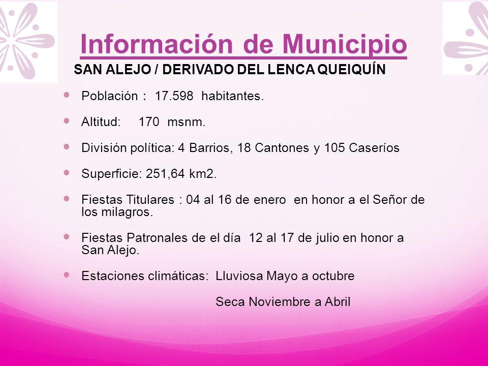 Información de Municipio SAN ALEJO / DERIVADO DEL LENCA QUEIQUÍN Población 17.598 habitantes. Altitud: 170 msnm. División política: 4 Barrios, 18 Cant