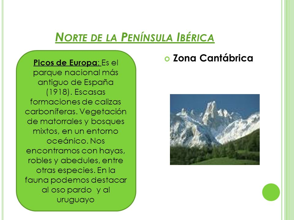 N ORTE DE LA P ENÍNSULA I BÉRICA Zona Cantábrica Picos de Europa : Es el parque nacional más antiguo de España (1918). Escasas formaciones de calizas