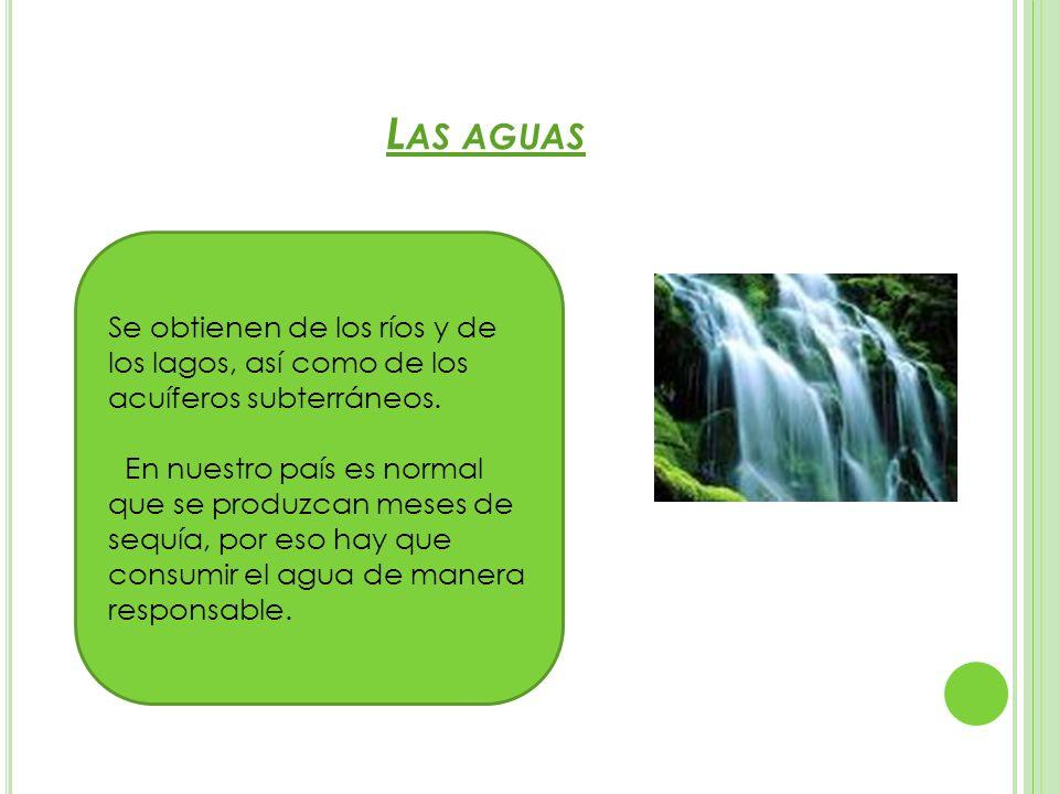 L AS AGUAS Se obtienen de los ríos y de los lagos, así como de los acuíferos subterráneos. En nuestro país es normal que se produzcan meses de sequía,