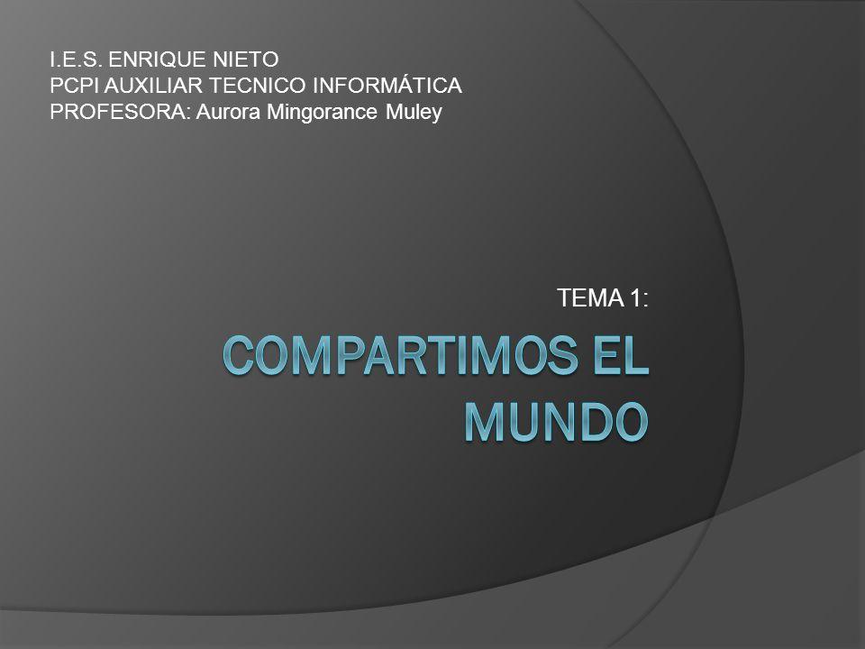 TEMA 1: I.E.S. ENRIQUE NIETO PCPI AUXILIAR TECNICO INFORMÁTICA PROFESORA: Aurora Mingorance Muley
