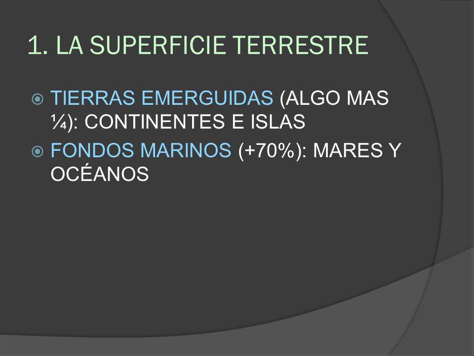 1. LA SUPERFICIE TERRESTRE TIERRAS EMERGUIDAS (ALGO MAS ¼): CONTINENTES E ISLAS FONDOS MARINOS (+70%): MARES Y OCÉANOS