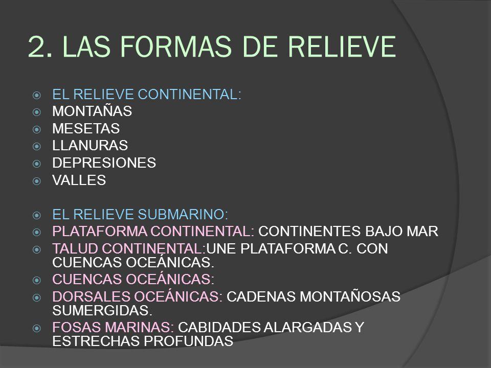 2. LAS FORMAS DE RELIEVE EL RELIEVE CONTINENTAL: MONTAÑAS MESETAS LLANURAS DEPRESIONES VALLES EL RELIEVE SUBMARINO: PLATAFORMA CONTINENTAL: CONTINENTE