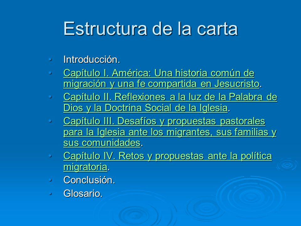 Estructura de la carta Introducción.Introducción. Capítulo I. América: Una historia común de migración y una fe compartida en Jesucristo.Capítulo I. A