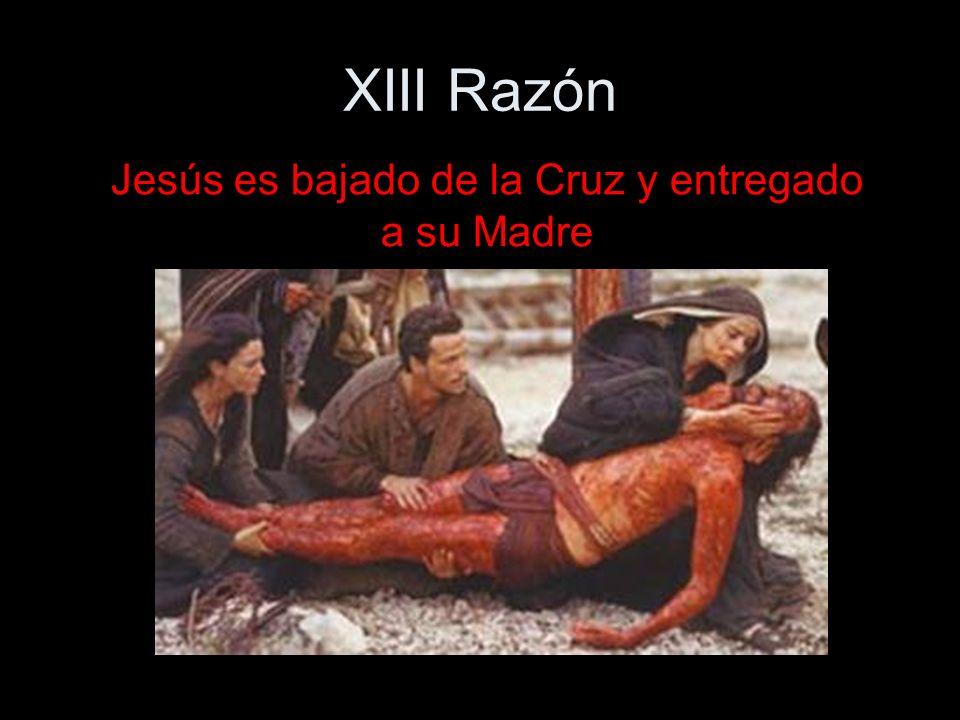 XIII Razón Jesús es bajado de la Cruz y entregado a su Madre