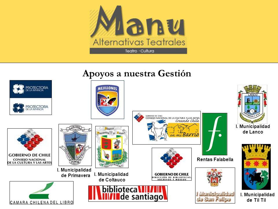 Apoyos a nuestra Gestión I. Municipalidad de Primavera I. Municipalidad de Coltauco Rentas Falabella I. Municipalidad de Lanco I. Municipalidad de Til