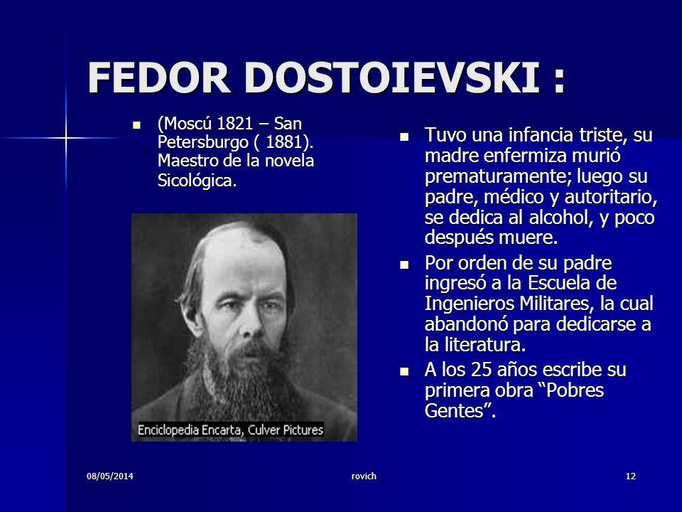 rovich12 FEDOR DOSTOIEVSKI : (Moscú 1821 – San Petersburgo ( 1881). Maestro de la novela Sicológica. (Moscú 1821 – San Petersburgo ( 1881). Maestro de