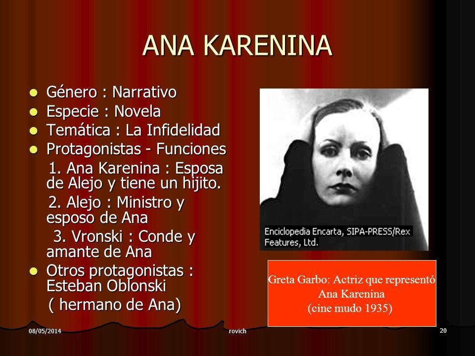 rovich 20 08/05/2014 ANA KARENINA Género : Narrativo Género : Narrativo Especie : Novela Especie : Novela Temática : La Infidelidad Temática : La Infidelidad Protagonistas - Funciones Protagonistas - Funciones 1.