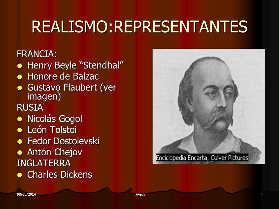 rovich 3 08/05/2014 REALISMO:REPRESENTANTES FRANCIA: Henry Beyle Stendhal Henry Beyle Stendhal Honore de Balzac Honore de Balzac Gustavo Flaubert (ver