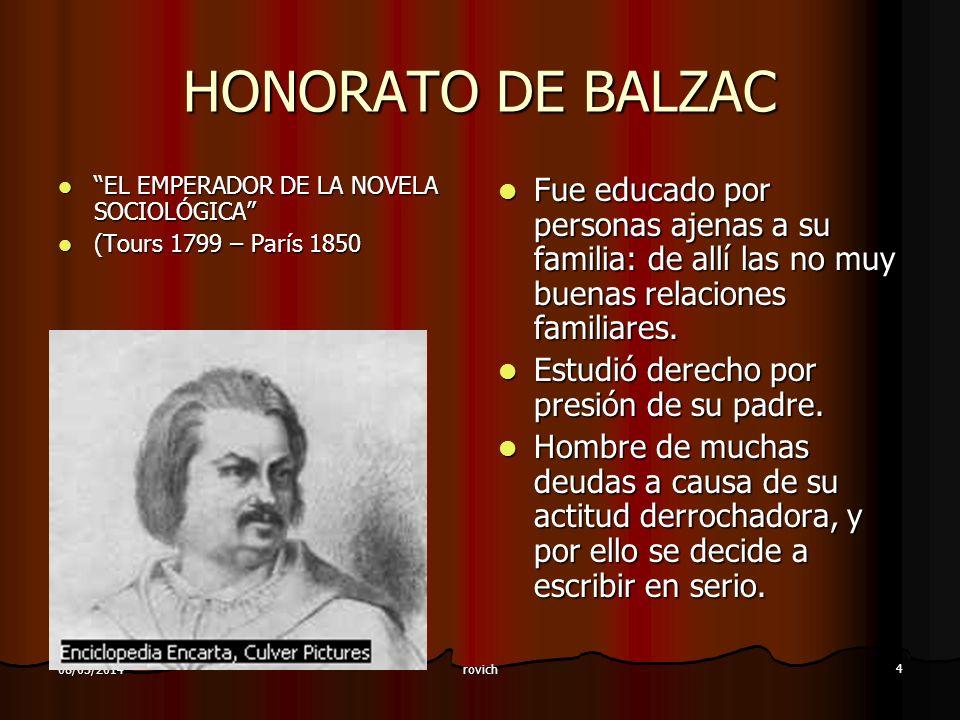 rovich 4 08/05/2014 HONORATO DE BALZAC EL EMPERADOR DE LA NOVELA SOCIOLÓGICA EL EMPERADOR DE LA NOVELA SOCIOLÓGICA (Tours 1799 – París 1850 (Tours 179
