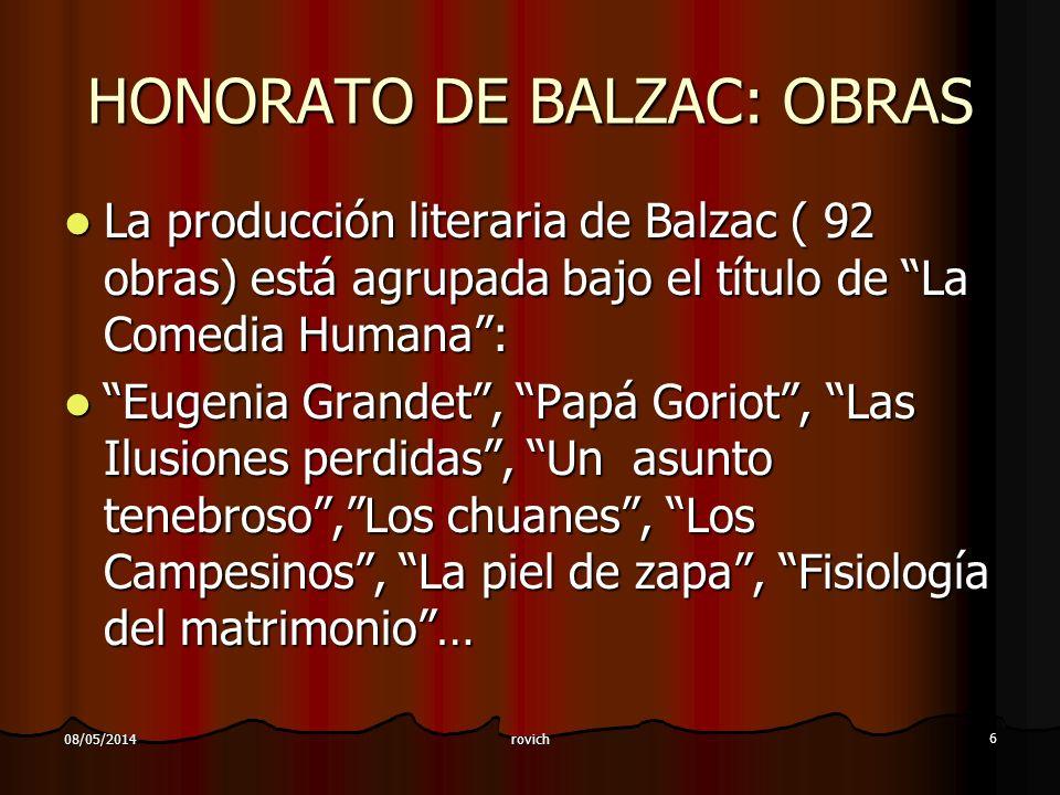 rovich 6 08/05/2014 HONORATO DE BALZAC: OBRAS La producción literaria de Balzac ( 92 obras) está agrupada bajo el título de La Comedia Humana: La prod