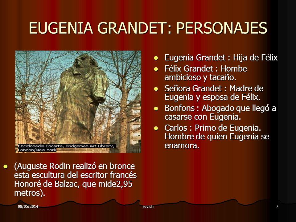 rovich 7 08/05/2014 EUGENIA GRANDET: PERSONAJES (Auguste Rodin realizó en bronce esta escultura del escritor francés Honoré de Balzac, que mide2,95 me