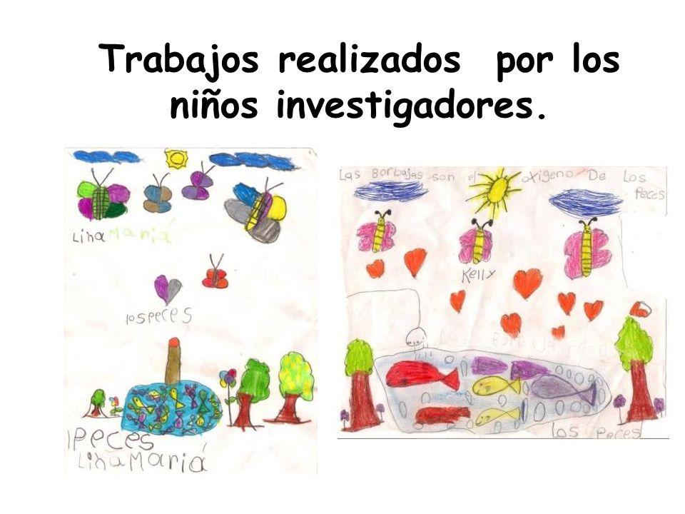 Trabajos realizados por los niños investigadores.