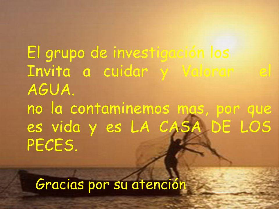 El grupo de investigación los Invita a cuidar y Valorar el AGUA. no la contaminemos mas, por que es vida y es LA CASA DE LOS PECES. Gracias por su ate