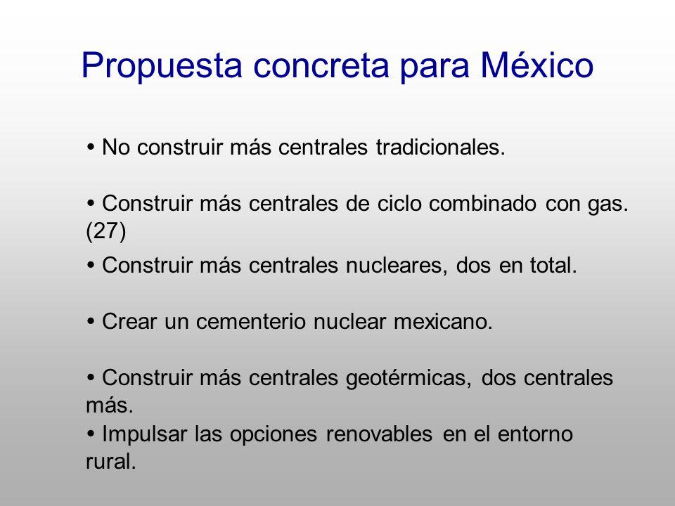 Propuesta concreta para México No construir más centrales tradicionales.