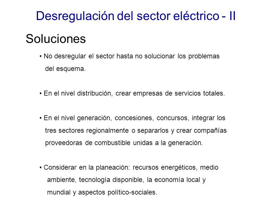 Desregulación del sector eléctrico - II No desregular el sector hasta no solucionar los problemas del esquema.