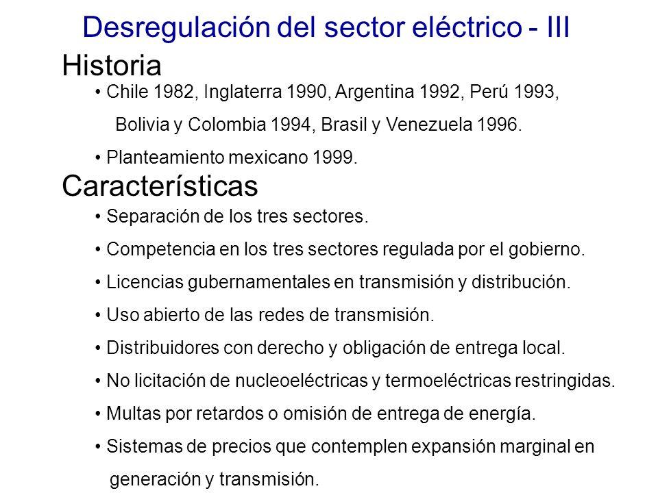 Desregulación del sector eléctrico - III Historia Características Chile 1982, Inglaterra 1990, Argentina 1992, Perú 1993, Bolivia y Colombia 1994, Brasil y Venezuela 1996.