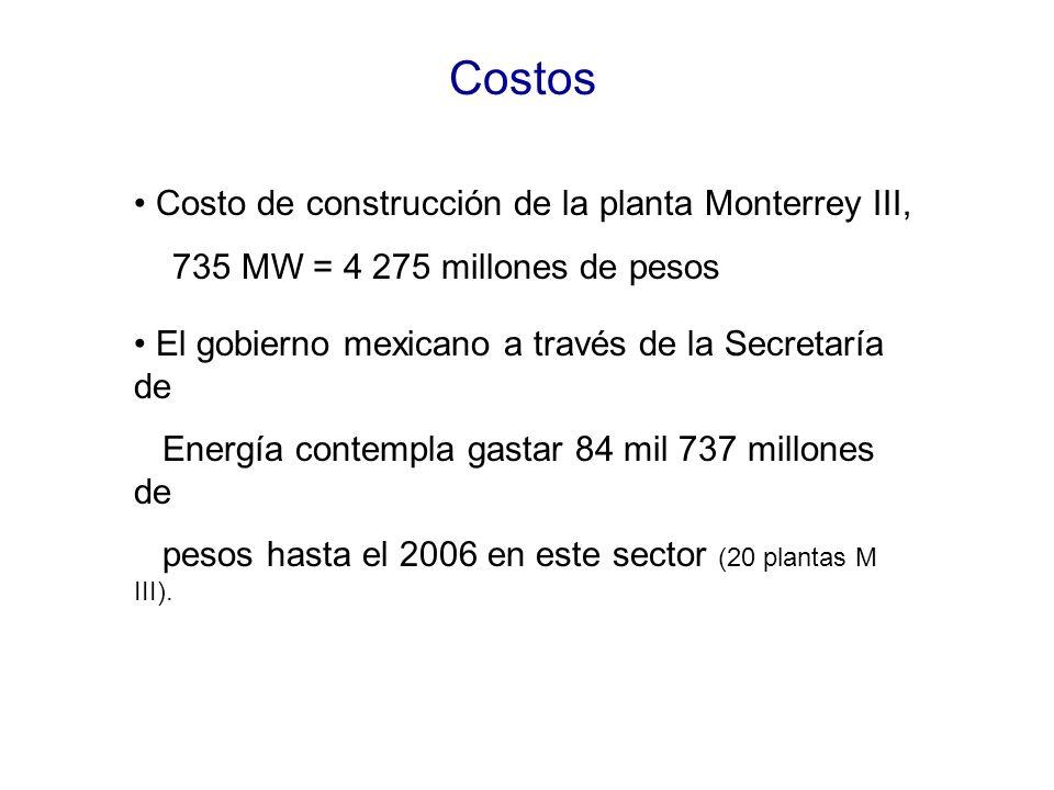Costos Costo de construcción de la planta Monterrey III, 735 MW = 4 275 millones de pesos El gobierno mexicano a través de la Secretaría de Energía contempla gastar 84 mil 737 millones de pesos hasta el 2006 en este sector (20 plantas M III).
