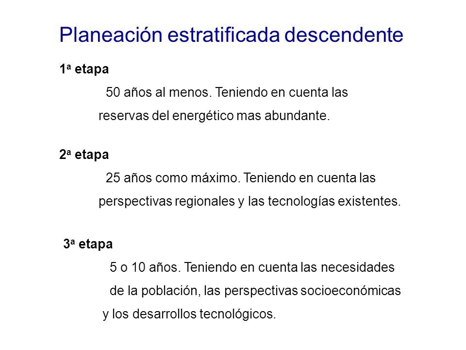 Planeación estratificada descendente 1 a etapa 50 años al menos.