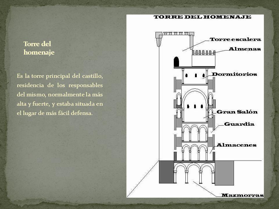 Es la torre principal del castillo, residencia de los responsables del mismo, normalmente la más alta y fuerte, y estaba situada en el lugar de más fá