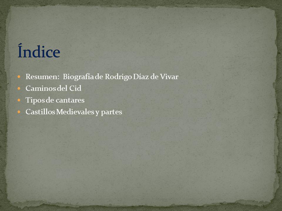 Resumen: Biografía de Rodrigo Díaz de Vivar Caminos del Cid Tipos de cantares Castillos Medievales y partes