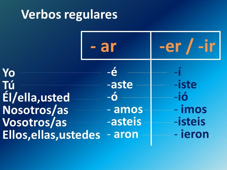 Verbos regulares - ar -er / -ir -é -aste -ó - amos -asteis - aron -í -iste -ió - imos -isteis - ieron Yo Tú Él/ella,usted Nosotros/as Vosotros/as Ello